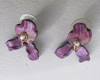 Earrings - Orchid - Paper Mache - Seed Pearl - Vintage