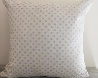 Metallic Silver Spotted Organic Cotton Cushion Pillow Cover