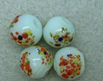 Vintage MILLEFIORI GLASS Beads Japanese  8.5mm pkg 4  gl873