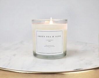 Green Tea U0026 Aloe Soy Wax Candle   Minimalistic Glass Jars 9 Oz   Gold Tin
