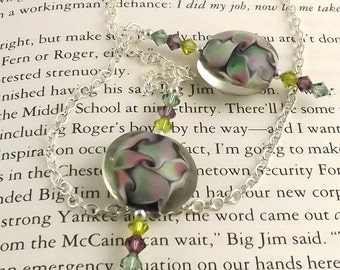 Emily Lampwork Glass Swarovski Crystal and Chain Bookmark aka Book Thong a perfect addition to your library