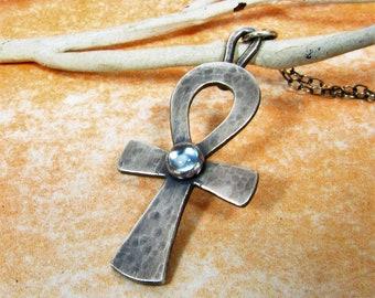 Silver Ankh Necklace, Sky Blue Topaz Necklace, Sterling Silver Ankh Jewelry, Egyptian Key Of Life, Metalsmith Jewelry, Amulet Necklace
