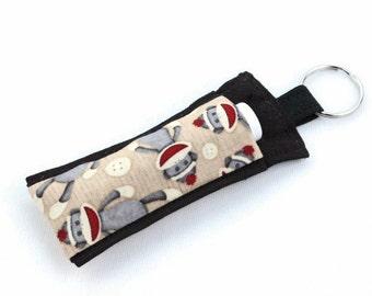 Chapstick Holder Keychain, Lip Balm Holder, Chapstick Holder, Lip Balm Keychain, Lip Balm Cozy, Chapstick Cozy, Sock Monkey Fabric, Monkeys