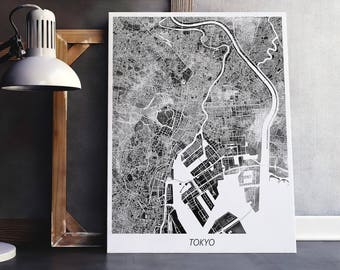 Tokyo Map Print, Tokyo Poster Print, Tokyo Japan Urban Street City Map, Black White Color, Modern Home Room Wall Office Art, Printable Decor