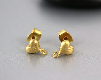 Gold Plated Earposts - Hearts - Gold Earposts - Sterling Silver Posts