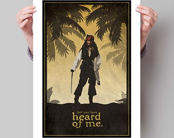"""PIRATES of the CARIBBEAN Inspired Captain Jack Sparrow Minimalist Movie Poster Print - 13""""x19"""" (33x48 cm)"""