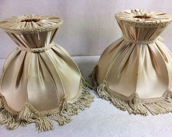 Set Of 2 Vintage Beige Lamp Shades Beautiful Elegant Lamp Shades Frabic Lamp Shades Clip On Lamp Shades