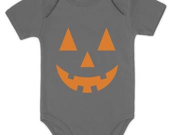 Orange Pumpkin Face Halloween Costume Jack O' Lantern Baby Bodysuit