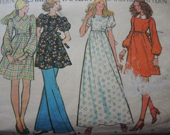 vintage 1970s McCalls sewing pattern 3495 misses dress and pants size 12