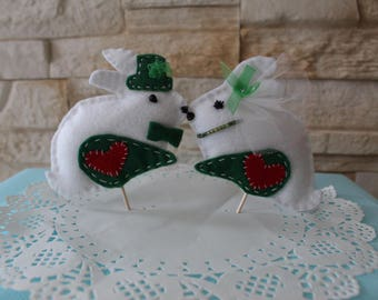 "Idea wedding Figurines decorative ""Mr and Mrs rabbit"" - decorating the cake or cup cake color forest green in stock"