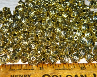 NEW METAL 6mm filligree spacer beads golden toned 100/pcs per lot