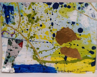 Clive keye Mixed Media Collage 8 x 6 Work on Paper Map