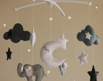SALE!!! Grey elephant cloud star musical mobile baby cot mobile grey white nursery decor elephant mobile star mobile