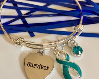Survivor Teal Ribbon Charm Bracelet / Ovarian Cancer, Myasthenia Gravis, POTS, PTSD, Trigeminal Neuralgia, Scleroderma, Anxiety