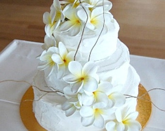 Cascading Real Touch Plumeria Cake Flowers- Color of Your Choice- Beach Wedding- Shown in Coconut Creme