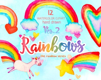 Rainbows Watercolor clipart, Rainbow digital papers, Unicorn clipart, bright colorful illustration, nursery art prints, Lisa Frank clipart