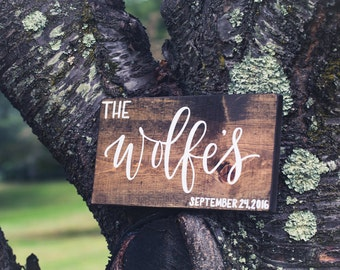 Family Name Sign - small; Rustic Wooden Sign