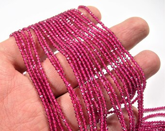Ruby - 2mm micro faceted round beads - 1 full strand  16 inch 40 cm - 205 beads - AA Quality - Lab created Ruby - PG144