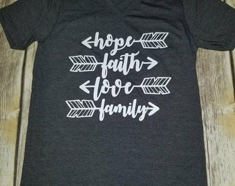 Hope, Faith, Love, Family Shirt