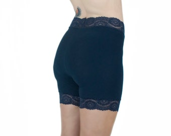 Bamboo Biker Shorts Navy Blue Tap Pants Lace Trim Shorties Modesty Biking Shorts Organic Tap Pants