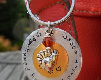 Pampered Hens Keychain or Necklace, hand stamped metal, chickens, BYC