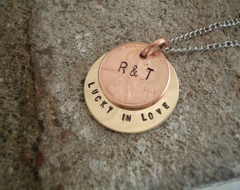 Lucky In Love - Penny Necklace with Hand Stamped Message and Initials