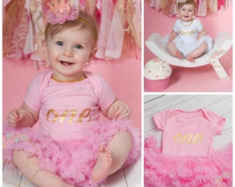 Girls first birthday Outfit - birthday tutu outfit -baby  1st birthday - smash the cake outfit , girls tutu, baby birthday smash cake dress.