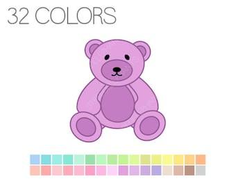 Teddy Bear Clipart Pastel - Teddy Bear Digital Clip Art - Instant Download - Commercial Use