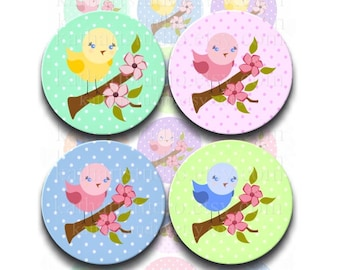 Instant Download - Birdie on Branch 4x6 Collage Sheet 1 inch circles for bottle cap pendants, hair bows, magnets DSP153