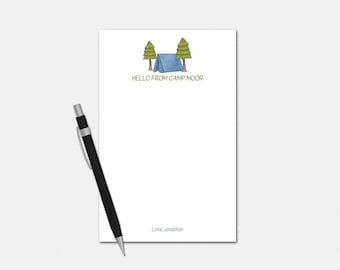Personalized Camp Notepad - Hello From Camp Notepad - Pink or Blue - Personalized Notepad - Stationery for Kids - Camp Notepad