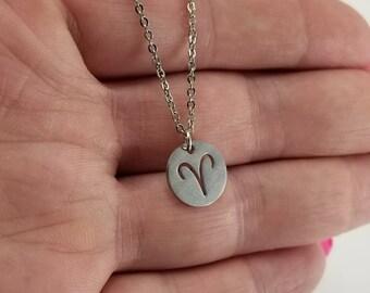 Aries Necklace, Aries Ram Symbol Necklace, Aries Jewelry, Minimalist Aries Necklace, Zodiac Jewelry, March Zodiac Sign, April Zodiac Sign
