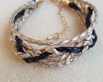 Gold-black.Handmade strap bracelet.