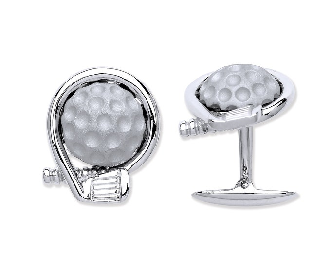 Men's 925 Solid Sterling Silver Golf Club & Ball Cufflinks Hallmarked