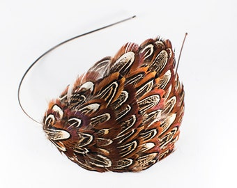 SALE! Natural Almond Ringneck Pheasant Feather Headband // Classy 1920's Style Headpiece // Classic and Classy Accent