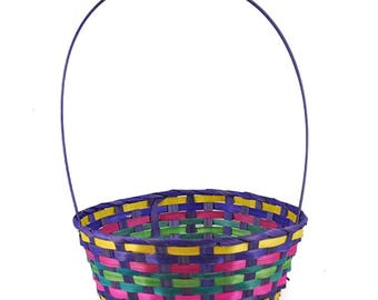 "15.25"" Woven Colorful Round Easter Basket"