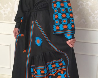 Maxi dress, Black embroidered dress, boho dress, boho style, vyshyvanka, oversize dress, gift for her, plus size, loose dress, ljm