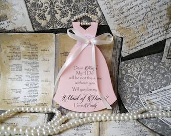 Bridesmaid Card, Will You Be My Bridesmaid Card, Watercolor, Bridesmaid Proposal, Pink and Ivory, Maid of Honor, Matron of Honor