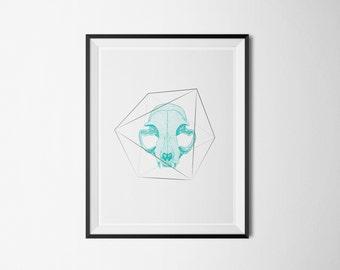 Art Print | Cat skull