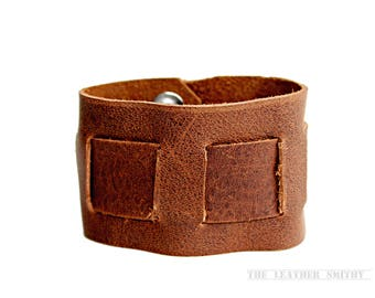 """Rustic Interwoven Brown Leather Snap Cuff- 2"""" Wide- Men's & Women's Leather Cuff"""