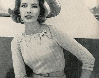 Vogue Knitting 1960 Classic Pullover Pattern Retro Mod Mad Men