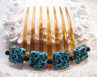 Dyed Reconstituted Turquoise Howlite and Genuine Black Onyx French Twist Large hair comb Fascinator