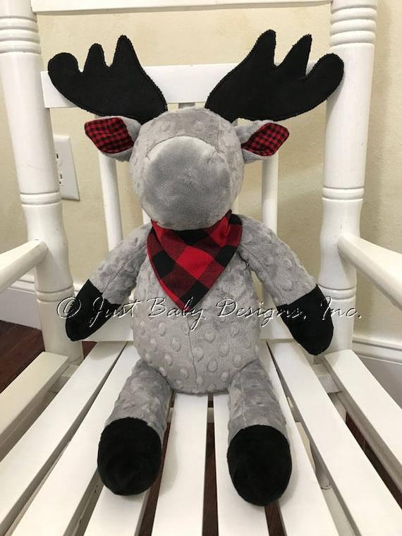 Snuggle Pal Stuffed Animal Moose Gray With Red Amp Black Plaid