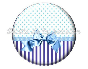 1 cabochon 25mm round glass Blue Ribbon, heart