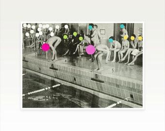 Swimming Pool Print, Geometric Art, People Art, Pop Surrealism, Spots, Circle Shapes - Gala