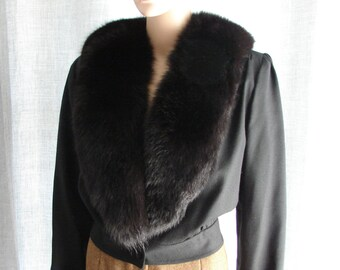 Black Vintage Wool Jacket with Mink Collar