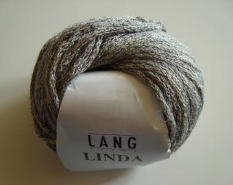 50g skein wool LINDA by Lang Yarns - Heather grey - 5 needles - linen - Viscose - acrylic