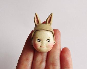 Kewpie Bunny Brooch Cafe Au Lait