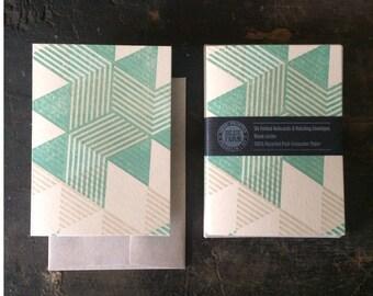 6 Pyramids Letterpress Notecards - Green and Tan