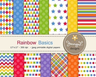 50% OFF Rainbow Digital Papers for Digital Scrapbooking, Invitations, Stars, Triangles Rainbow Colors