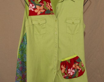 XL tunic top, comfortable and fun, urban chic, refashioned, one of a kind
